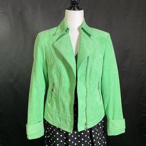 Jackets & Blazers - Vintage Faux Suede Pastel Green Biker Jacket